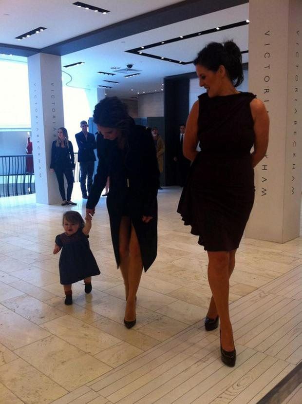 Victoria and Harper Beckham with Brown Thomas Fashion Director Shelly Corkery
