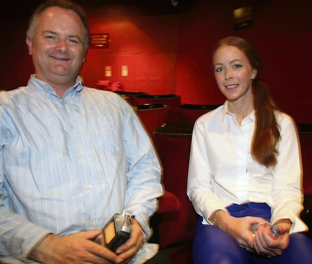 Herald Reporter Ken Sweeney with Riverdance star Jean Butler at the Gaiety Theatre in Dublin. Photo: Garrett White