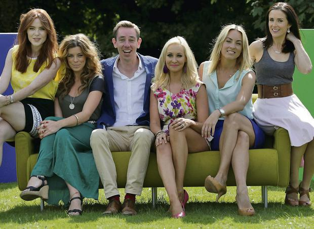 From left, Angela Scanlon of Reality Bites/Oi Ginger, Love/Hate's Aoibhinn McGinnity, Ryan Tubridy, Emma O'Driscoll of RTE Junior, Kathryn Thomas of The Voice/Operation Transformation and Maia Dunphy of What Women Want. Photo: Collins/Colin Keegan
