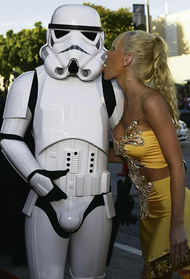 Actress Katie Lohman and a Storm Trooper in LA. Photo: Reuters/Lee Celano