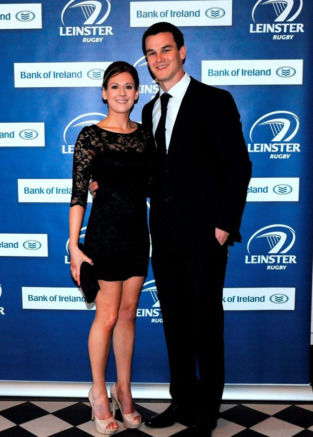 Leinster's Jonathan Sexton with Laura Priestley arriving at the Leinster Rugby awards 2012. Photo: Caroline Quinn