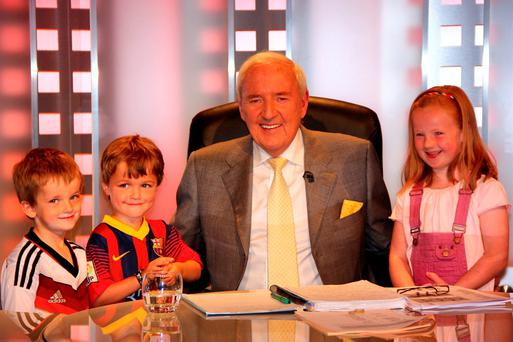 Bill with his grandchildren on his last RTE football broadcast