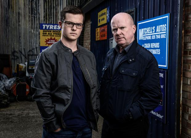 Eastenders newcomer Harry Reid, left, as Ben Mitchell, with Steve McFadden as Phil Mitchell