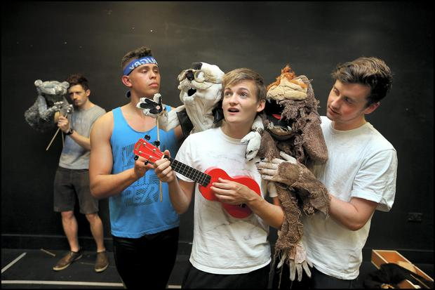 Jack Gleeson with fellow actors (from left), Cameron McAulay, Aaron Heffernan and Eoghan Quinn during rehersals for Bears in Space