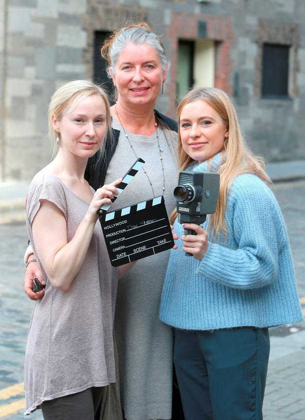 Maureen Hughes , casting director, with Aine de Siun, left, and Ally Ryan who will both study in the actors Studio on Bow Street in Dublin