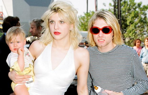 Courtney Love and Kurt Cobain with their daughter Frances Bean Cobain