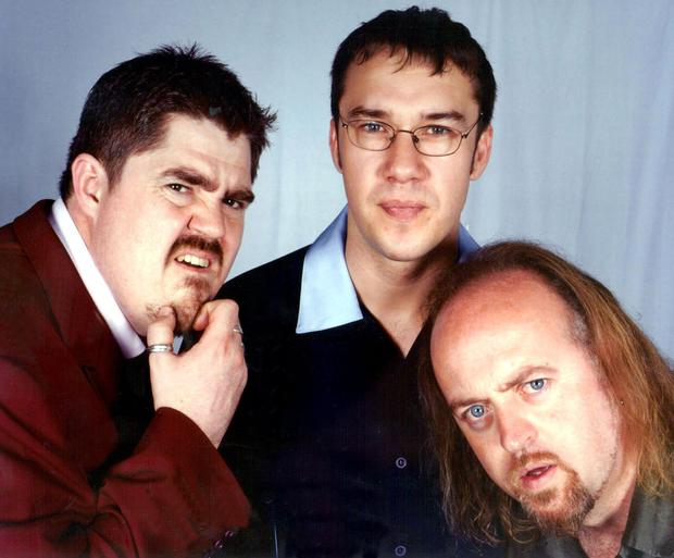 Buzzcocks line-up in 2002 Phil Jupitus, Mark Lamarr and Bill Bailey