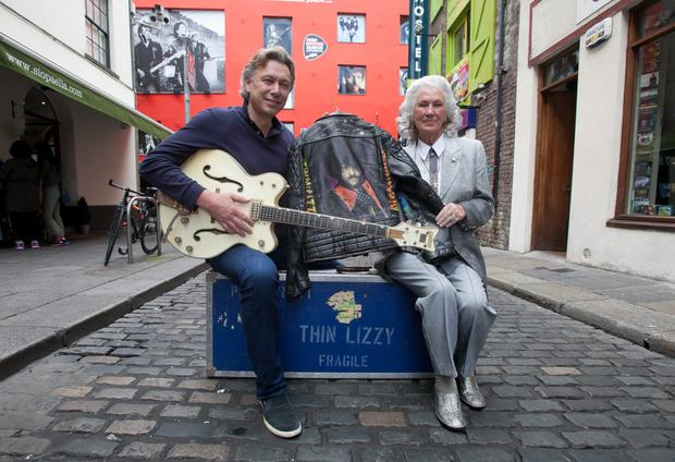 14/07/2015 Phil Lynott's mother Philomena Lynott & Paddy Dunning during a hand over of Thin Lizzy/ Phil Lynnott guitars & memorabilia at Temple Lane Studios, Dublin to mark the opening of a new Irish Rock & Roll Museum. The guitars and memorabilia will be