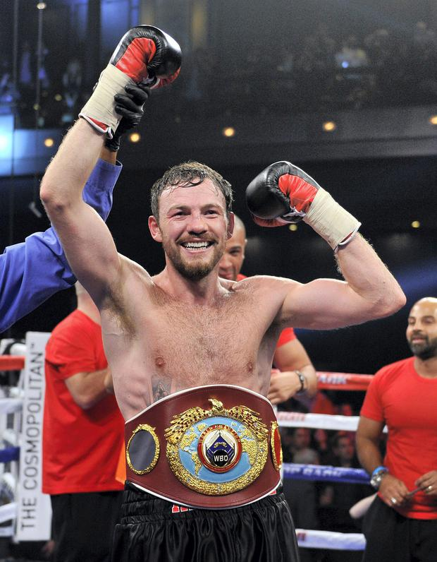Andy Lee celebrates is win over Matt Korobov after their fight for a vacant WBO middleweight title at The Chelsea at The Cosmopolitan of Las Vegas