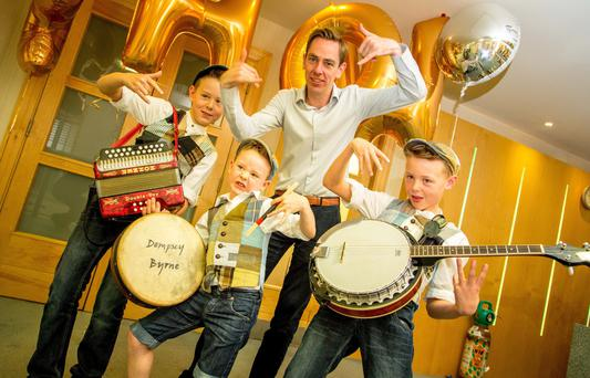 RTE's Ryan Tubridy with The Byrne Brothers, Finn, Luca and Dempsey from Mountcharles, Co. Donegal who were auditioning for The Late Late Toyshow, at the Radisson Hotel, Sligo, yesterday.