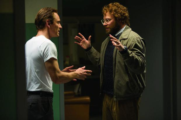 Seth Rogen and Michael Fassbender in Steve Jobs