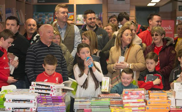 Fans of Liverpool legend, Steven Gerrard during a book signing of his autobiography, 'My Story' at Eason's Bookstore, Dublin.