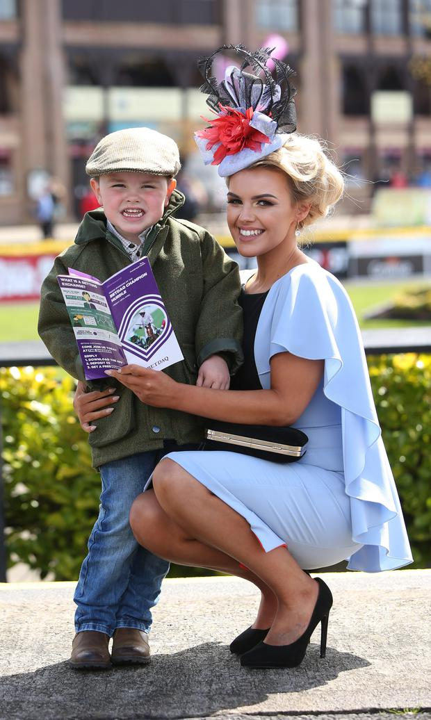 Emma Hanratty from newly and her son, Oliver Farrell, 4 at the Punchestown Racing Festival in Co. Kildare.