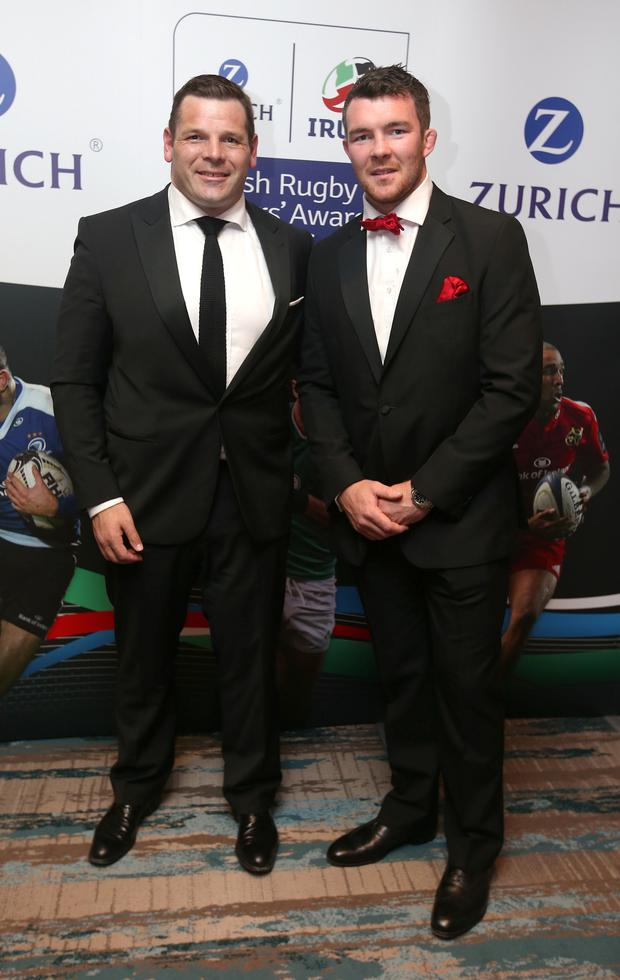 Ireland International Mike Ross, left and Peter O'Mahony at The Zurich IRUPA Rugby Players' Awards 2016 in Dublin. Picture credit; Damien Eagers 4/5/2016
