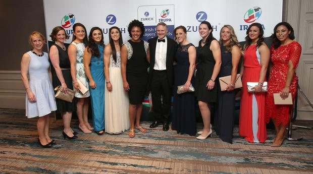 Ireland coach, Joe Schmidt with members of the Irish ladies team, at The Zurich IRUPA Rugby Players' Awards 2016 in Dublin. Picture credit; Damien Eagers 4/5/201