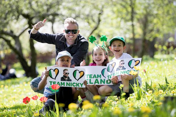 Ireland's Eurovision entry Nicky Byrne is pictured meeting fans Hugo Riddarkolm (7), Lilly Riddarholm and Hugo Mellquist near his hotel in Stockholm on the run up to his jury vote rehersal.