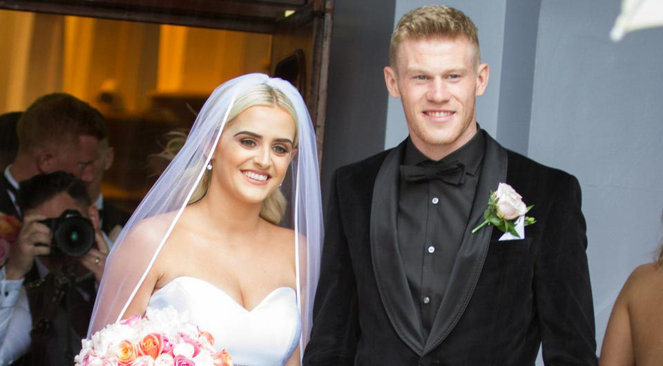 James McClean and his beautiful wife Erin as they leave the church in Derry.