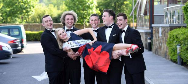 REPRO Free Repro free -- Elysha Brennan pictured having a laugh with some of the 65 Rose of Tralee Escorts at their Boot Camp in Kerry. Pictured from L-R: Peter Capocci (Chef from Dublin), Carl Mullan (RTE 2FM broadcaster from Dublin), Jonathan Lynch (Electrician)