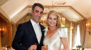 Broadcaster Claire Byrne with her Husband Gerry Scollan on their wedding day. Picture Conor McCabe