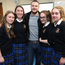 Irish actor Jack Reynor with pupils, Maria McKeever, Emma Pichot, Andrea Pichot, Andrea D'alton and Ella Doran at St Rapaelas secondary school in Stillorgan, he was there to watch a fashion show as part of a Build-a-Bank event.