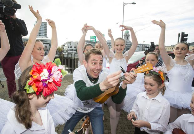 Pictured at The Late Late Toy Show Auditions in Cork with host Ryan Tubridy was the School of Ukulele players and singers, and dancers from the Denise Moriarty School of Dance.