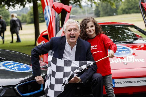 Louis Walsh pictured with Zane Blount Ronan (7) from Dublin to announce that Childline will be the official charity partner for Cannonball 2018.