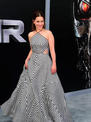 """Actress Emilia Clarke poses arrival for the premiere of the film """"Terminator Genisys"""" in Hollywood, California on June 28, 2015"""