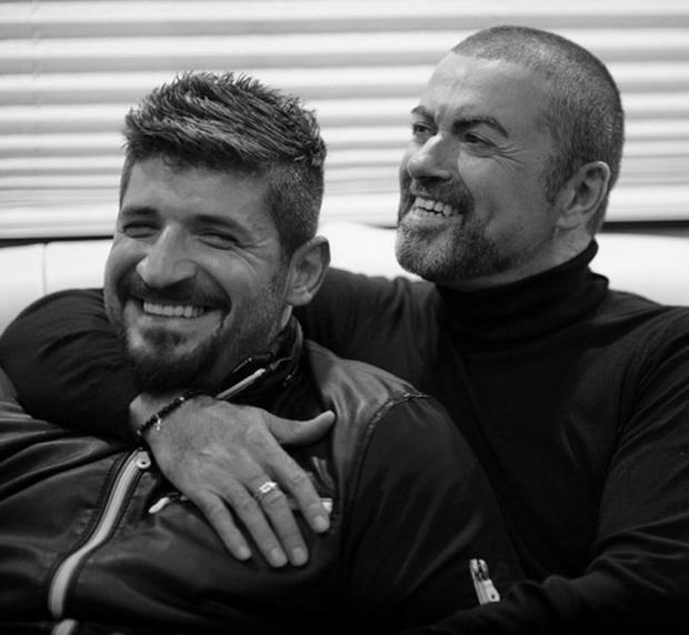 The late George Michael with his boyfriend Fadi Fawaz
