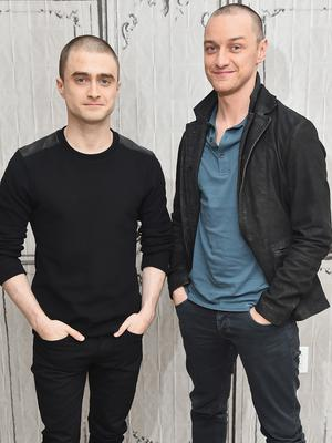 "NEW YORK, NY - NOVEMBER 09:  Actors Daniel Radcliffe (L) and James McAvoy attend the AOL BUILD Speaker Series: ""Victor Frankenstein"" at AOL Studios In New York on November 9, 2015 in New York City.  (Photo by Michael Loccisano/Getty Images)"