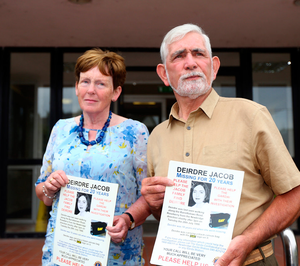 Bernie and Michael Jacob make their appeal for information about Deirdre outside Naas Garda Station Pic:Mark Condren