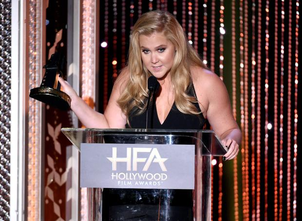 Amy Schumer accepts the Hollywood comedy award for
