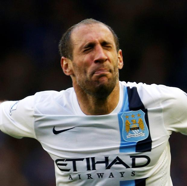 Pablo Zabaleta of Manchester City celebrates after his team beat Everton in their English Premier League soccer match at Goodison Park in Liverpool, May 3, 2014. Picture: Reuters/Russell Cheyne.