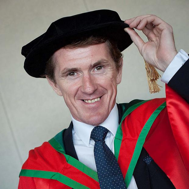 AP McCoy, after he received an honorary degree of Doctor of Science (DSc) for his outstanding contribution to sport at the University of Ulster summer graduations in Coleraine. Picture: Nigel McDowell/University of Ulster/PA Wire.