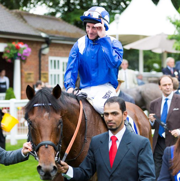 Paul Hanagan on Mukhadram after winning the Coral-Eclipse at Sandown Racecourse, Sandown. PRESS ASSOCIATION Photo. Picture date: Saturday July 5, 2014. Picture: Chris Ison/PA Wire.