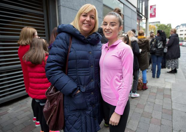 Robin Simpson with her mom Sara-Ann queueing today at Dance House, Foley Street for auditions in the Olympia's Panto.18/10/2015 Picture by Fergal Phillips