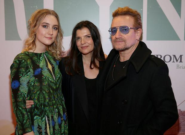 Saoire Ronan,Ali Hewson and husband Bono pictured tonight at The Irish premiere screening of the film Brooklyn at The Savoy Cinema Dublin, Pic Brian McEvoy No Repro fee for one use