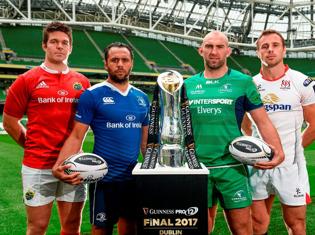 Billy Holland of Munster, Isa Nacewa of Leinster, John Muldoon of Connacht and Tommy Bowe of Ulster at the launch of the Guinness PRO12 Championship at the Aviva Stadium in Dublin yesterday. Pic: Sportsfile