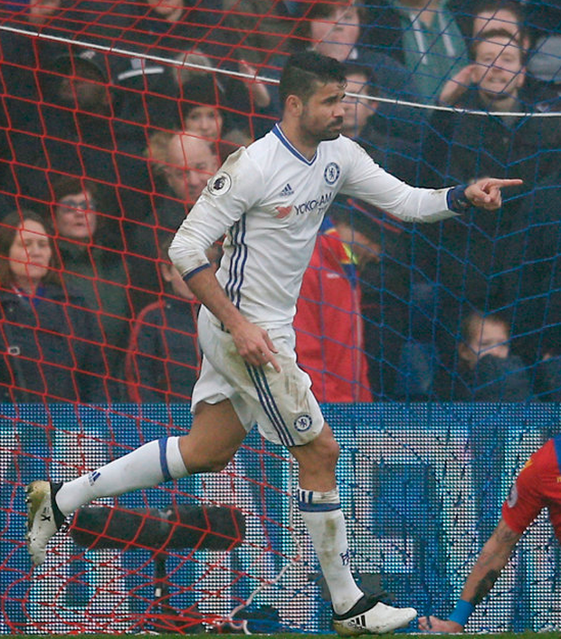 Chelsea's Diego Costa celebrates scoring the winner against Crystal Palace Photo: Reuters