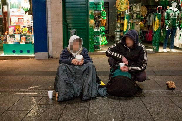 Two homeless men on Grafton street. Picture: Arthur Carron