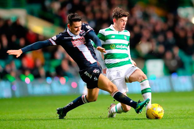 Ross County's Tim Chow (left) and Celtic's Ryan Christie during their Scottish Premiership match at Celtic Park. Photo: PA