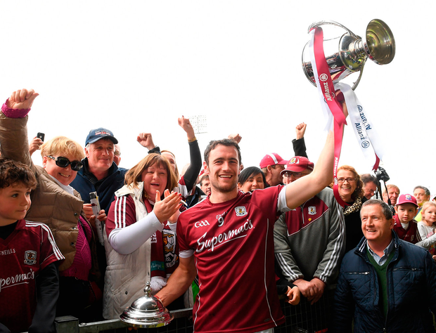 Galway captain David Burke celebrates with supporters after theirAllianz HL Division 1 final victory over Tipperary at the Gaelic Grounds, Limerick. Pic: Sportsfile