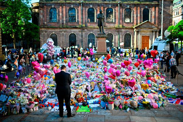 St Ann's Square has become a focal point for mourners following the Manchester Arena terror attack. Photo: Getty