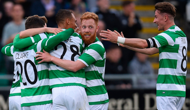 Shamrock Rovers players celebrate after Graham Burke, centre, scored their goal during last night's Europa League First Qualifying Round Second Leg clash with Stjarnan at Tallaght Stadium. Pic: Sportsfile