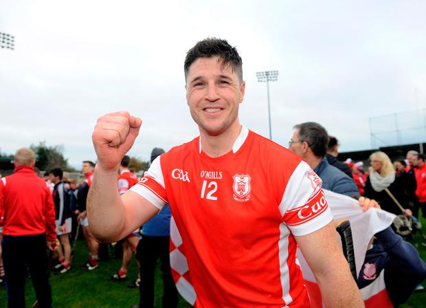 Cuala forward David Treacy celebrates after last Saturday's Dublin SHC final victory over Kilmacud Crokes. Pic: Caroline Quinn