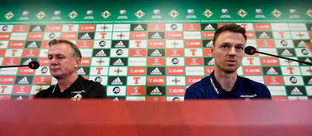 Northern Ireland manager Michael O'Neill (left) and Jonny Evans during yesterday's press conference Photo: Reuters