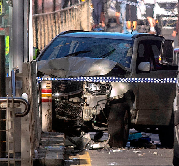 The scene of the crash at Flinders Station in Melbourne Pic: Reuters