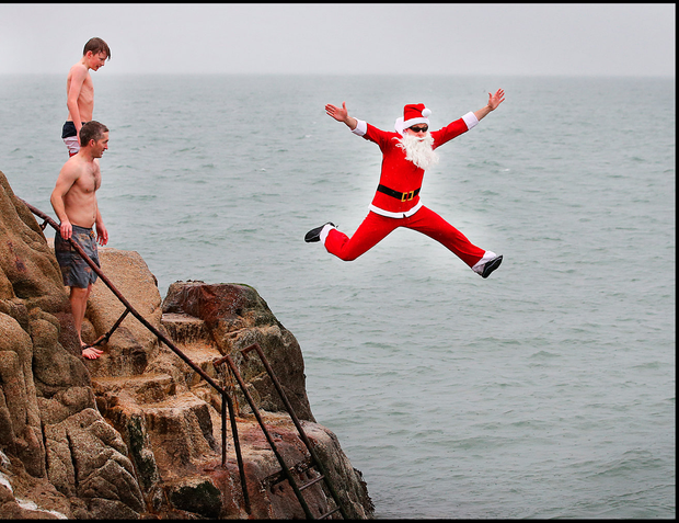 Enjoying the Christmas Day Swim at the 40 Foot in Sandycove was Karl Butler from CityWest Dublin. Pic: Steve Humpherys