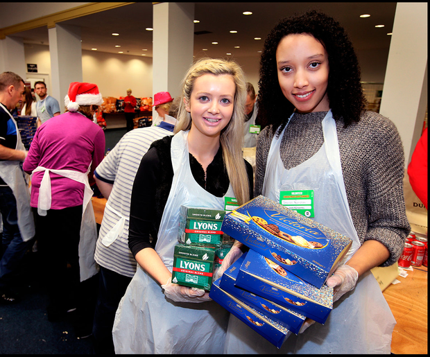 Volunteers Ashling Gregory and Jessica Akomfrah Pic: Steve Humphreys