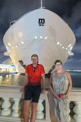 Stephen and Veronica Evans with the ship in Puerto Rico