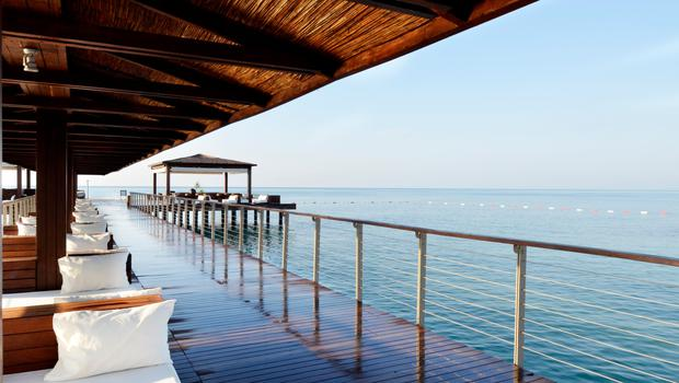 Cabanas by the sea in the resort